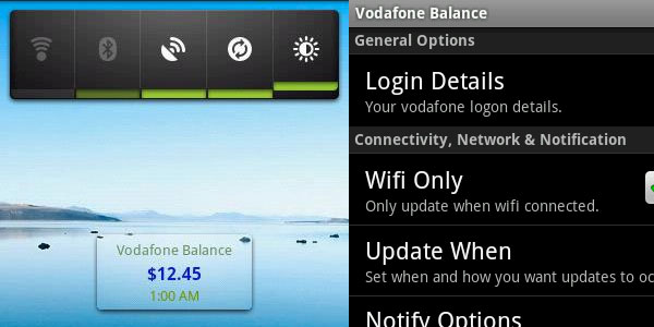 Vodafone NZ Balance Widget