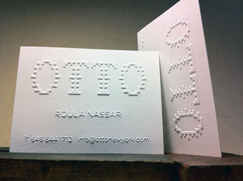 40 embossed business cards with classy look and feel raised texture lettering embossed blind reheart Gallery