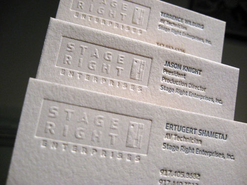 Stage Right Business Cards