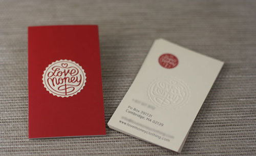 40 embossed business cards with classy look and feel love money colourmoves