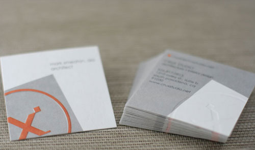 Square 24pt with Emboss Business Cards