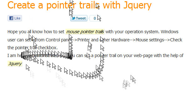 Create pointer trails with jquery
