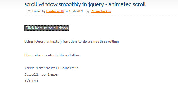 Scroll window smoothly in jQuery - Animated scroll