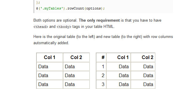 Add Table Rows Count