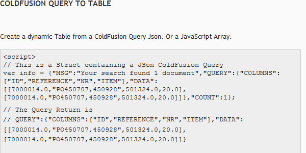 ColdFusion Query to Table