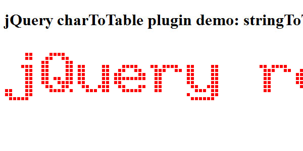 jQuery charToTable plugin