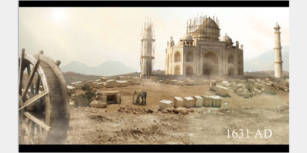 Matte Painting Tutorial of Tajmahal Using Photoshop