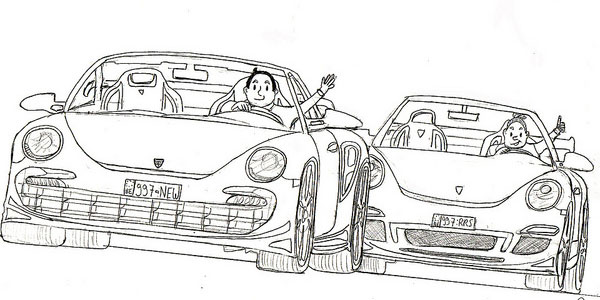 Car drawing- two Porsches Ft Suske & Wiske