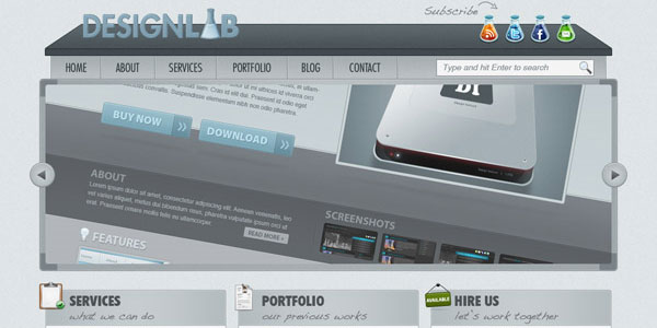 Create a Modern Lab Theme Web Design in Photoshop