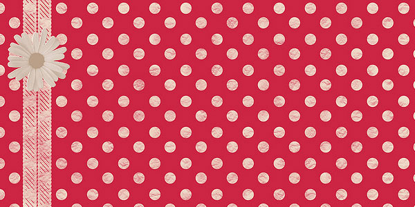 daisy red polka dots
