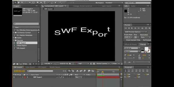 Exporting from After Effects to Flash