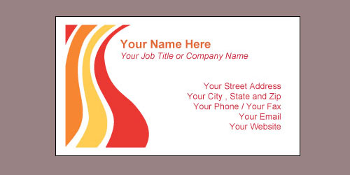 Waves Red 10-up Business Card Template