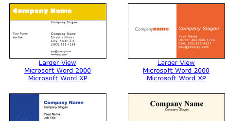 download free business cards templates microsoft word