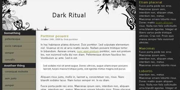 darkritual 25 Free Dreamweaver Templates