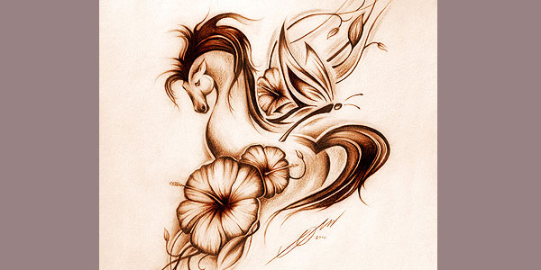 horse flower 20 Beautifully Designed Horse Tattoos