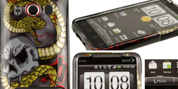 HTC EVO 4G Durable Two-Piece Plastic Phone Case - Protex Snake Skull
