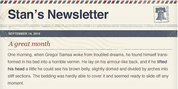 letter style email template Free HTML Email Templates