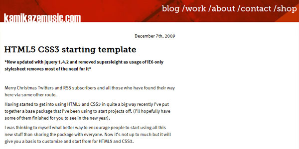HTML5 CSS3 starting template