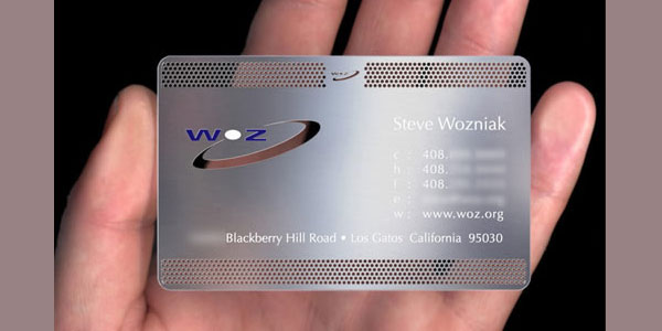 apple cofounder metal business card 30 Great Looking Metal Business Cards