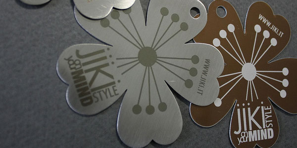 Metal steel business cards - original shape and engraved