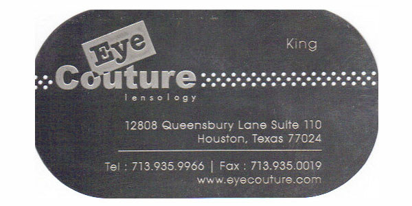 Eye Couture's new metal business cards