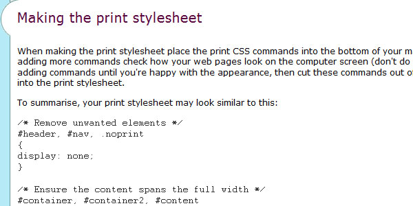 Print stylesheet - the definitive guide