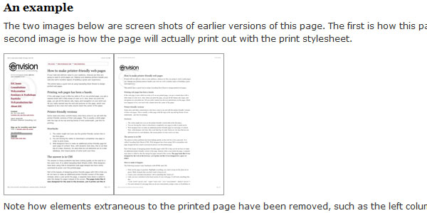 How to make printer friendly web pages