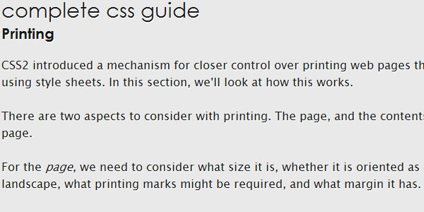 complete css guide Printing