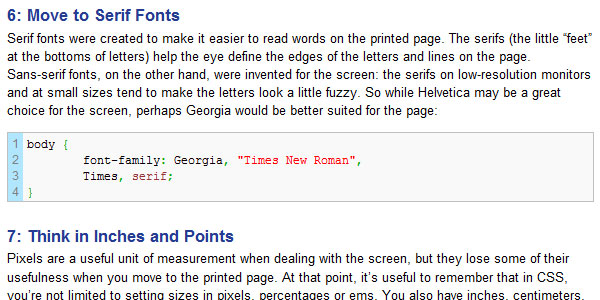 7 Tips for Great Print Style Sheets