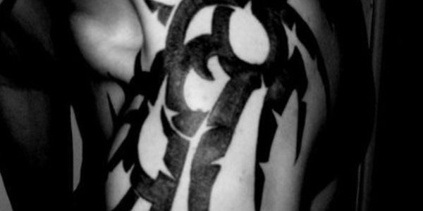 black shoulder tribal tattoo 35 Awesome Tribal Tattoos For Men