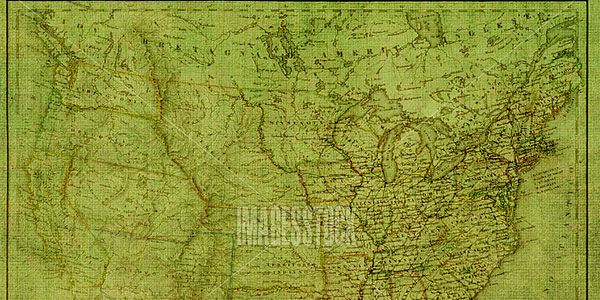 green vintage map USA