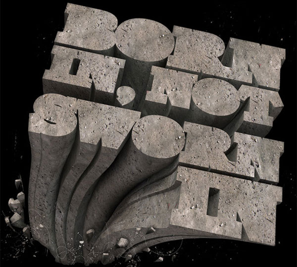 stone effect 3d typography 25 Impressive 3D Typography Designs