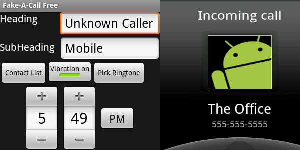 fake a call 25 Coolest Android Apps
