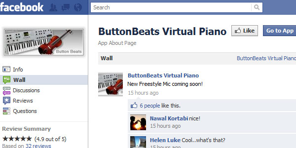 virual piano on facebook 20 Best Facebook Apps