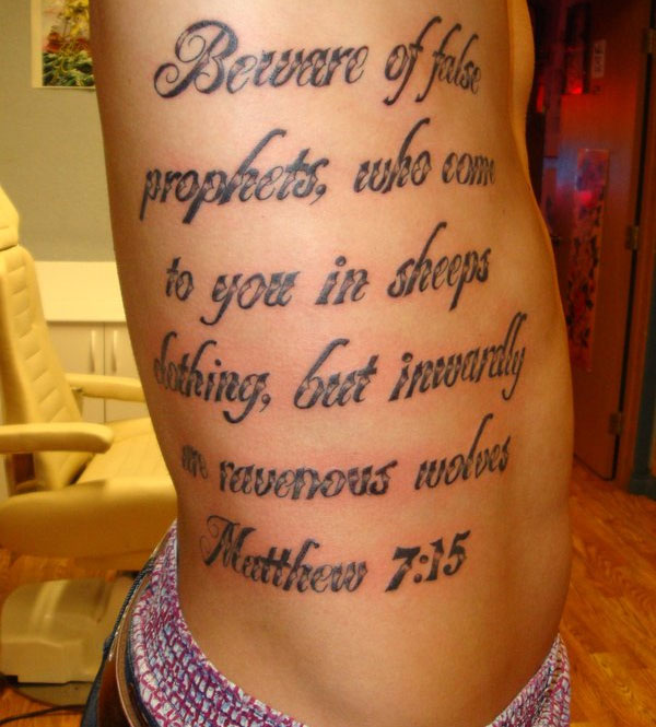 More Information on Matthew 7:15 Tattoo