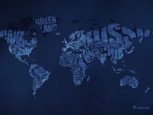 25 awing blue wallpapers typographic world map publicscrutiny Images