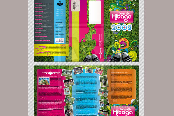 hitaga camp brochure 30 Creative Tri Fold Brochure Template Designs
