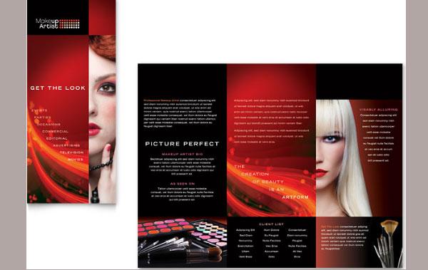 makeup artist trifold brochure 30 Creative Tri Fold Brochure Template Designs