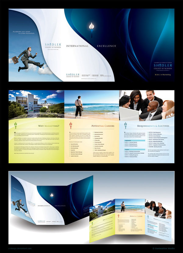 trifold brochure shidler 30 Creative Tri Fold Brochure Template Designs