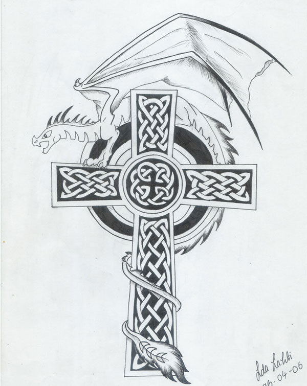 Dragon-cross tattoo