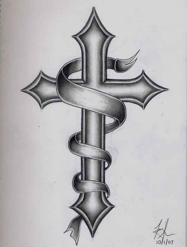 25 brilliant cross tattoos for men rh slodive com celtic cross tattoo with banner wooden cross tattoo with banner