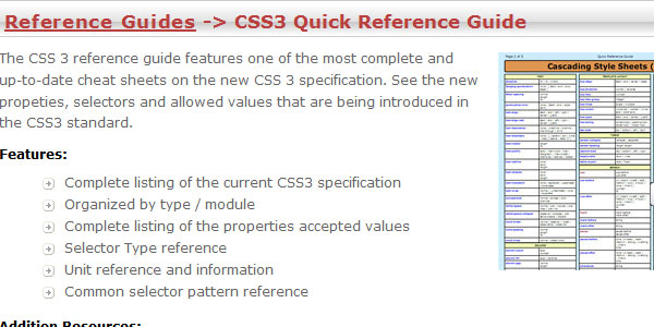 CSS3 Quick Reference Guide