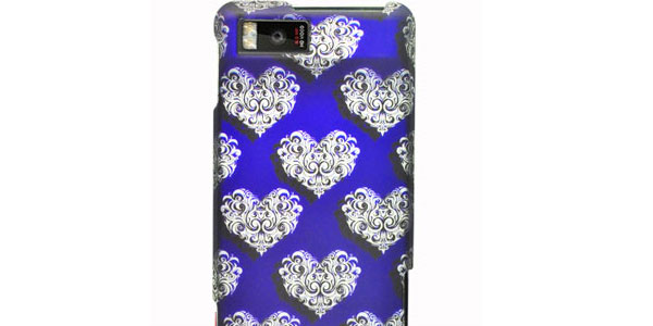 Motorola MB810 Droid X Graphic Rubberized Shield Hard Case - White Hearts on Blue