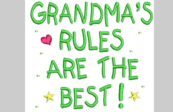 Grandmas Rules Embroidery Design