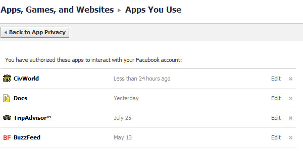 Choose Your Privacy Settings for Apps, Games and Websites