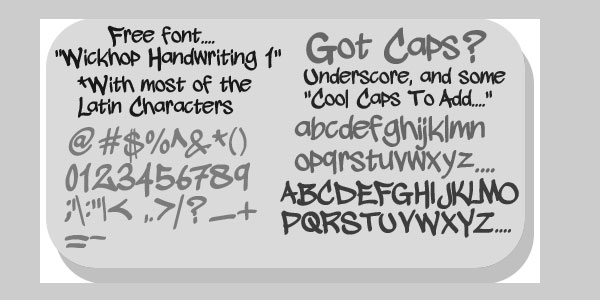More Information on wickhop handwriting font