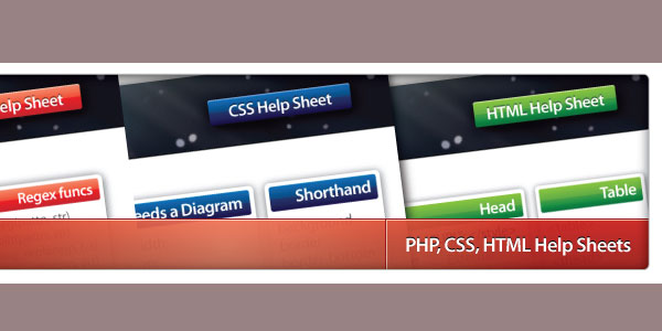 PHP, CSS & HTML Help Sheets