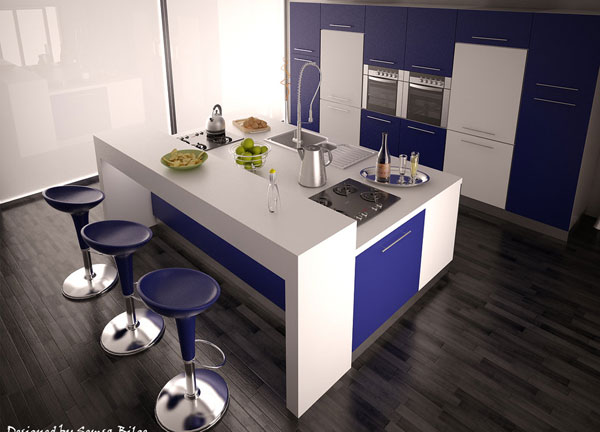 blue white kitchen design 25 Beautiful Kitchen Decorating Ideas