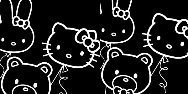 Hello Kitty Junkie Balloons iPhone Wallpaper in black