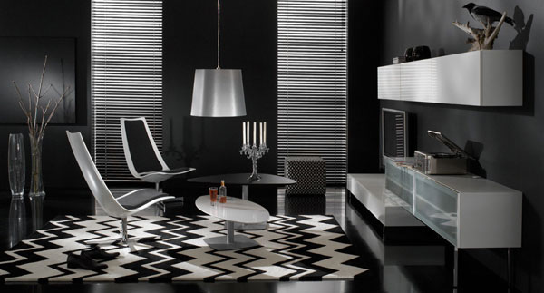 black living room 40 Cool Decorating Ideas For Living Rooms